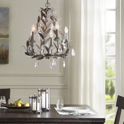 metal candle hanging ceiling light french country 5 lights foyer chandelier with crystal accents