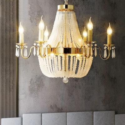 empire chandelier lighting shabby chic crystal bead 6 lights gold indoor pendant light for living room