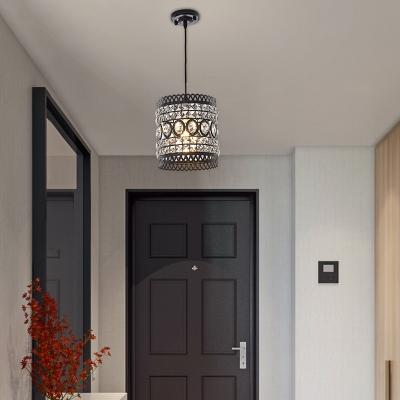 clear crystal cylinder suspension light industrial style length adjustable black foyer pendant light