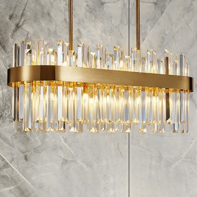 gold oval chandelier light traditional crystal block 6 8 heads dining room hanging ceiling light