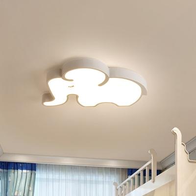 elephant baby room flush ceiling light acrylic kids style led flush mount lighting fixture in blue white