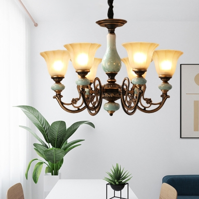3 5 6 head suspension light with morning glory shade tan glass country living room ceramics chandelier in black gold