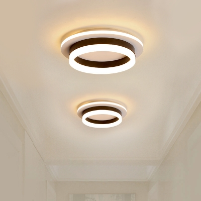 circle square small acrylic ceiling light minimalism black white led flush mount recessed lighting in warm white light