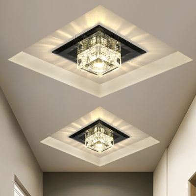 square mini flush mount recessed lighting decorative crystal clear black tan led ceiling light in warm white light third gear