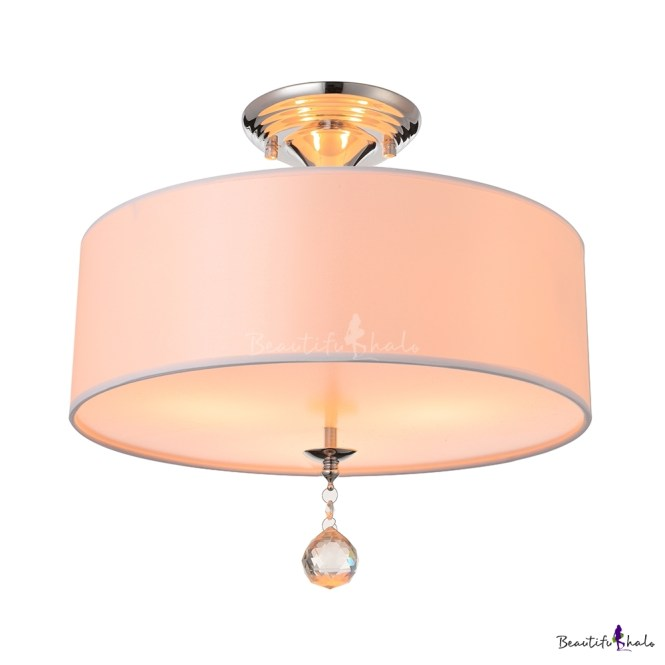 Grand White Fabric Drum Shade Semi Flush Ceiling Lights Adorned With Polished Chrome Finish Iron Base And Clear Crystal Ball Beautifulhalo
