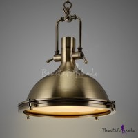 Nautical Pendant Light in Antique Bronze with Frosted ...