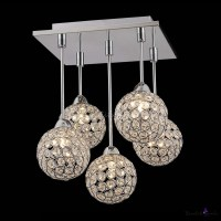 Gracefully 5-Light Crystal Globe Shades and Stainless ...