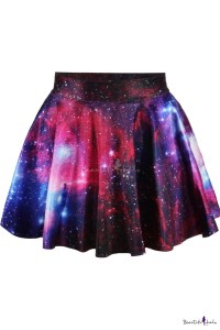 High waist Galaxy Tie Dye Pleated Mini Skirt ...