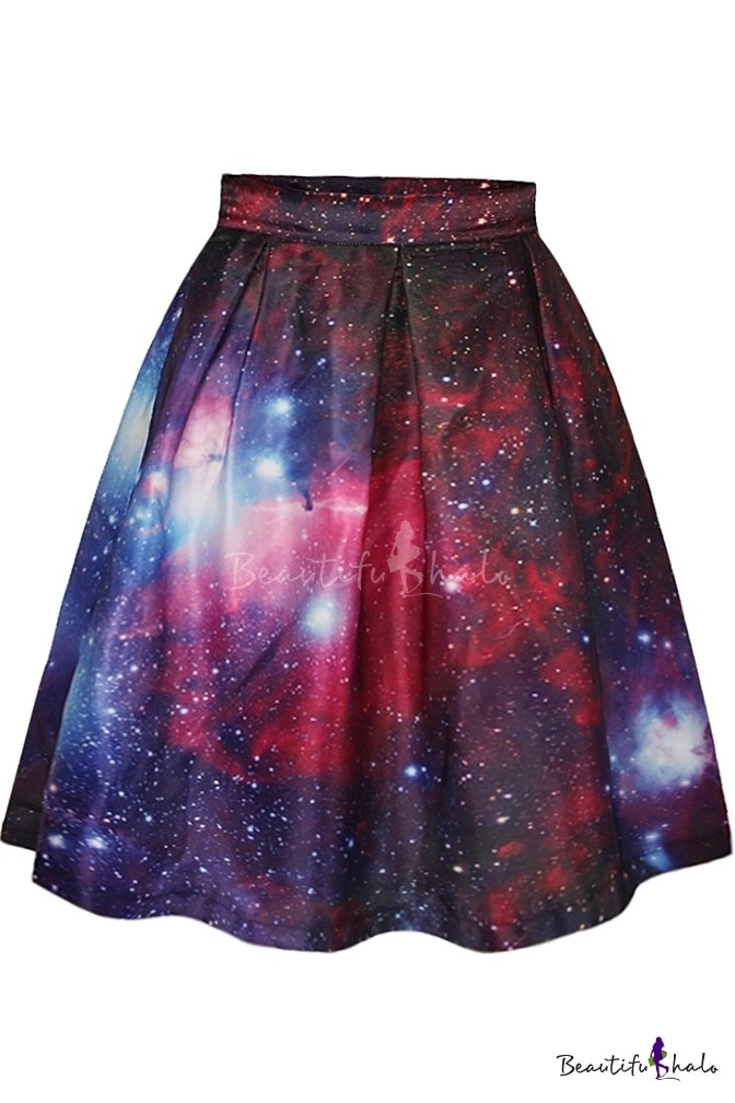 Red Galaxy Print Tie Dye ALine Skirt  Beautifulhalocom