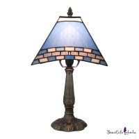 Buy Bedside Table LAMP One-light Blue Stained Glass ...
