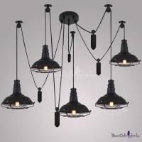 Five Light Swag LED Multi Light Pendant in Black ...