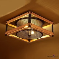 15 Inches wide Industrial LED Flush Mount Ceiling Light ...