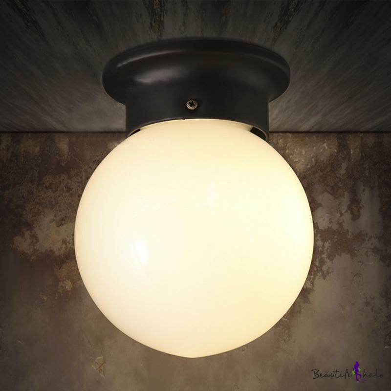 Single Light LED Flushmount Ceiling Fixture in White Globe