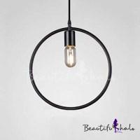 Black Geometric Circle LED Pendant Light Fixtures ...