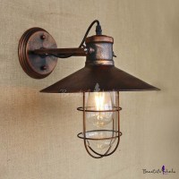 Single Light Antique Copper Nautical LED Wall Sconce with ...
