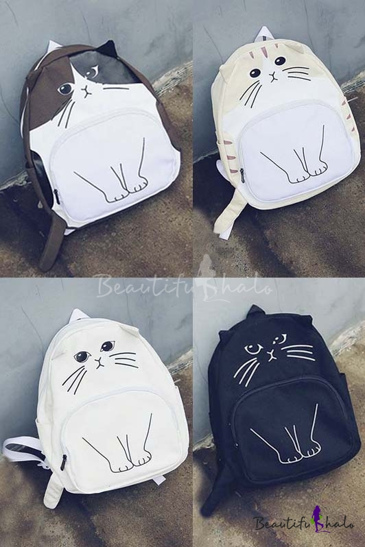 New Arrival Fashion Cute Cartoon Cat Print Backpack School Bags Travel Bags  Beautifulhalocom