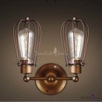 Wrought Iron 2 Light Indoor Hallway LED Wall Sconce in ...