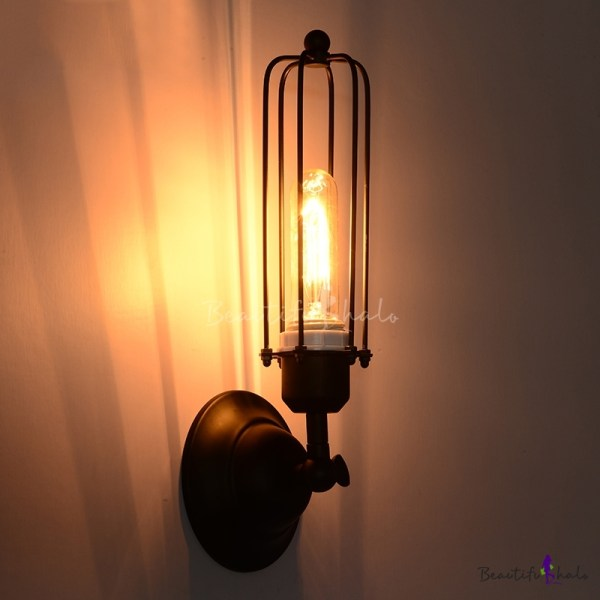 Industrial Iron Tubular Cage 1 Light Black Wall Sconce