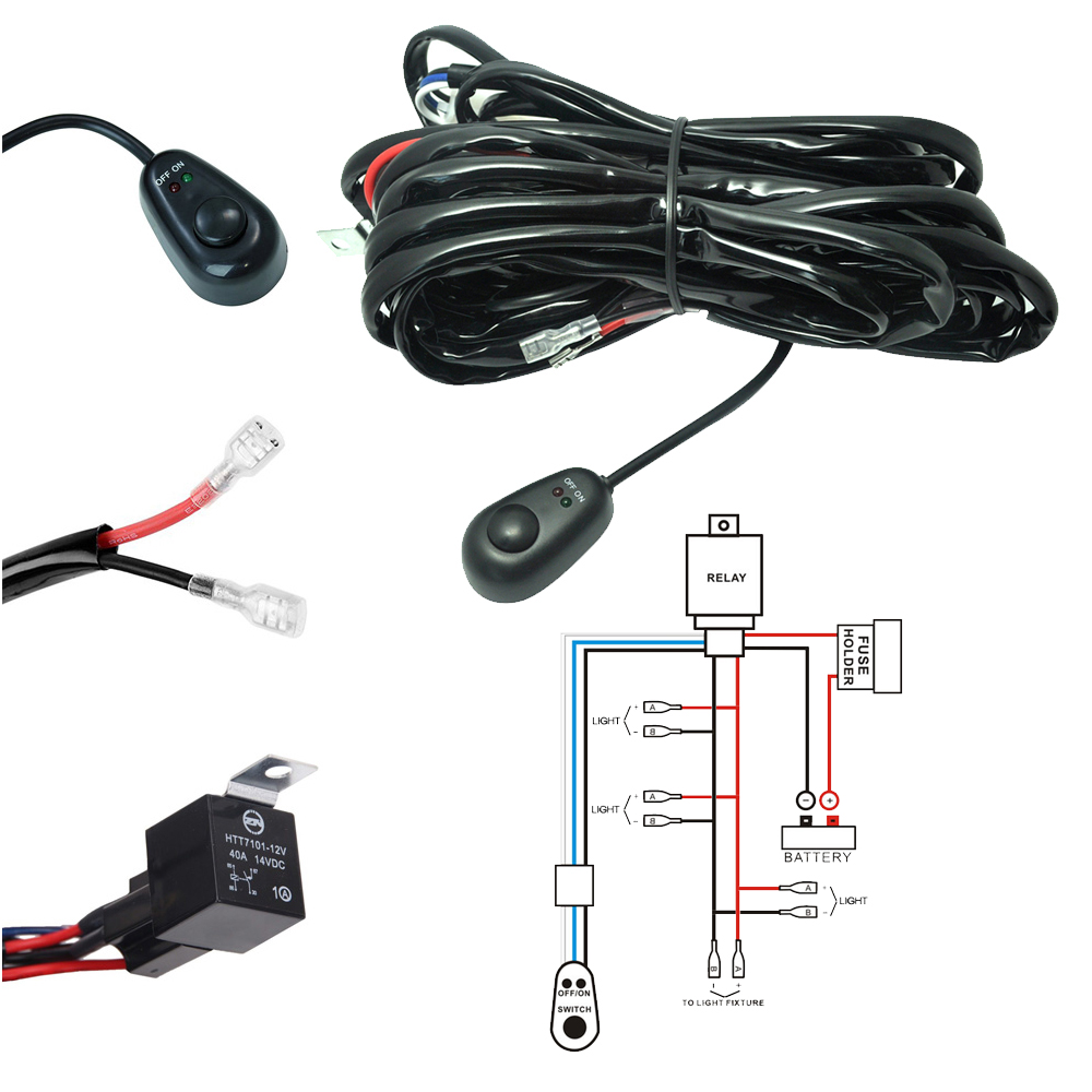 hight resolution of led light bar wiring harness kit 180w 12v 40a fuse relay on off waterproof switch 4 lead 2 meter universal for off road atv suv jeep truck