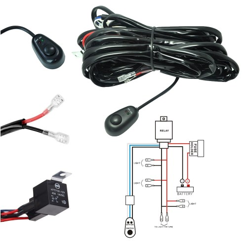 small resolution of led light bar wiring harness kit 180w 12v 40a fuse relay on off waterproof switch 4 lead 2 meter universal for off road atv suv jeep truck
