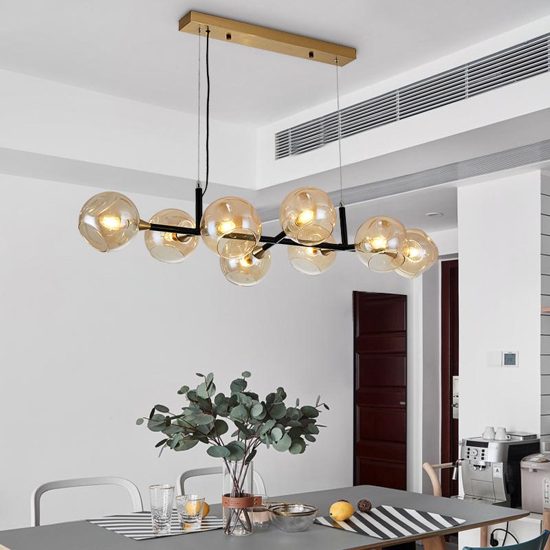 amber glass bubble pendant light modern 8 lights kitchen island lighting in black