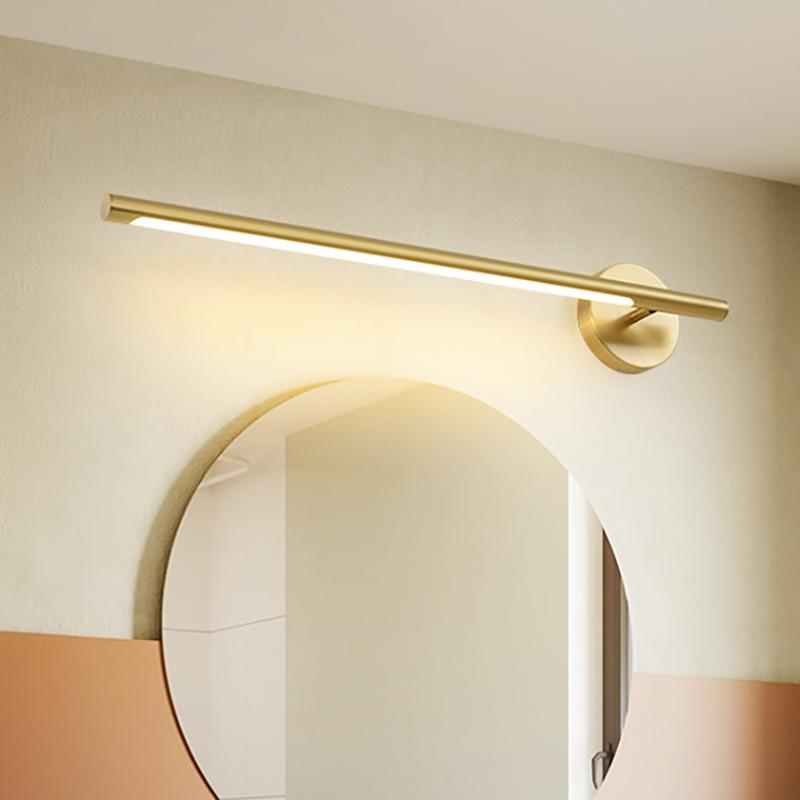 mid century modern linear wall sconce metallic led bathroom vanity lighting in gold