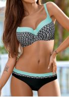 Color Block Splicing Geometric Printed Bikini Set