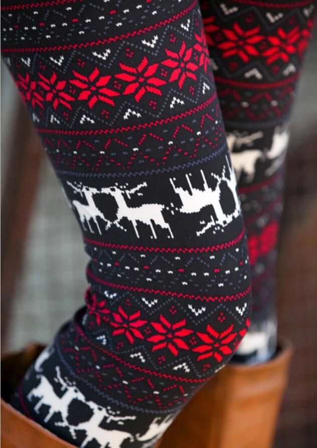 Flower Reindeer Printed Casual Leggings