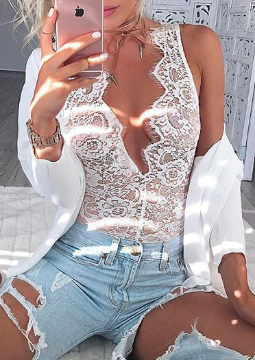 solid lace floral splicing sexy bodysuit