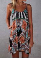 Geometric Printed Spaghetti Strap Mini Dress - Multicolor