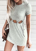 Solid Hollow Out Bodycon Dress - Gray