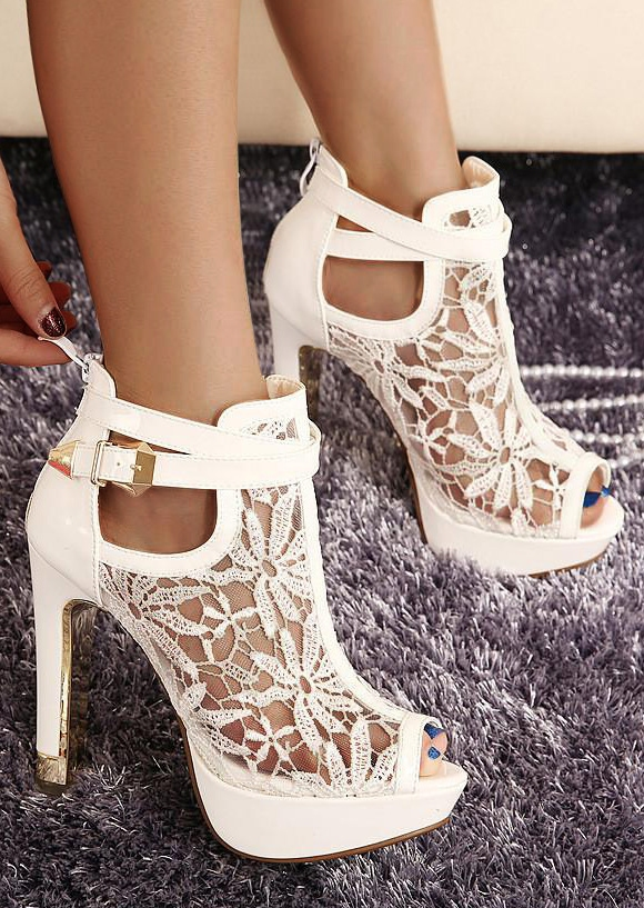 Solid Lace Splicing Hollow Out Heeled Sandals