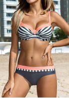 Striped Color Block Bikini Set
