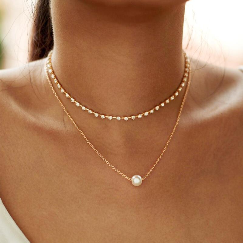 Multi-Layered  Rhinestone Pearl Pendant Necklace