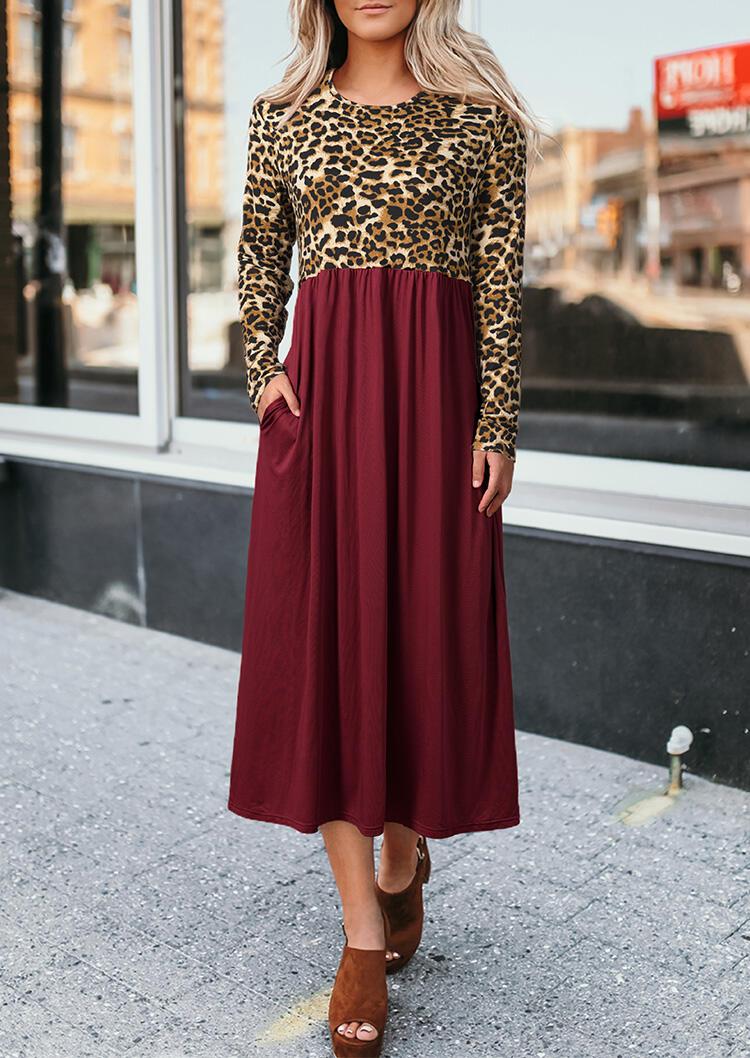 Leopard Printed Ruffled Pocket Long Sleeve Maxi Dress - Burgundy