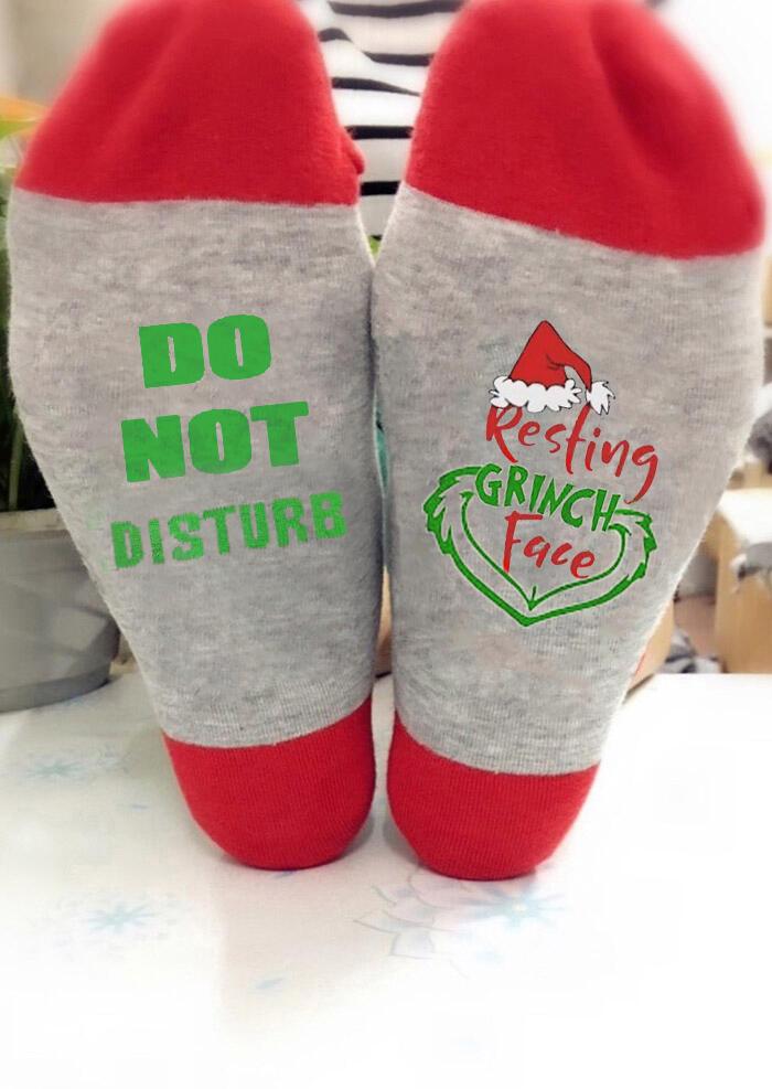 Christmas Do Not Disturb Resting Grinch Face Socks