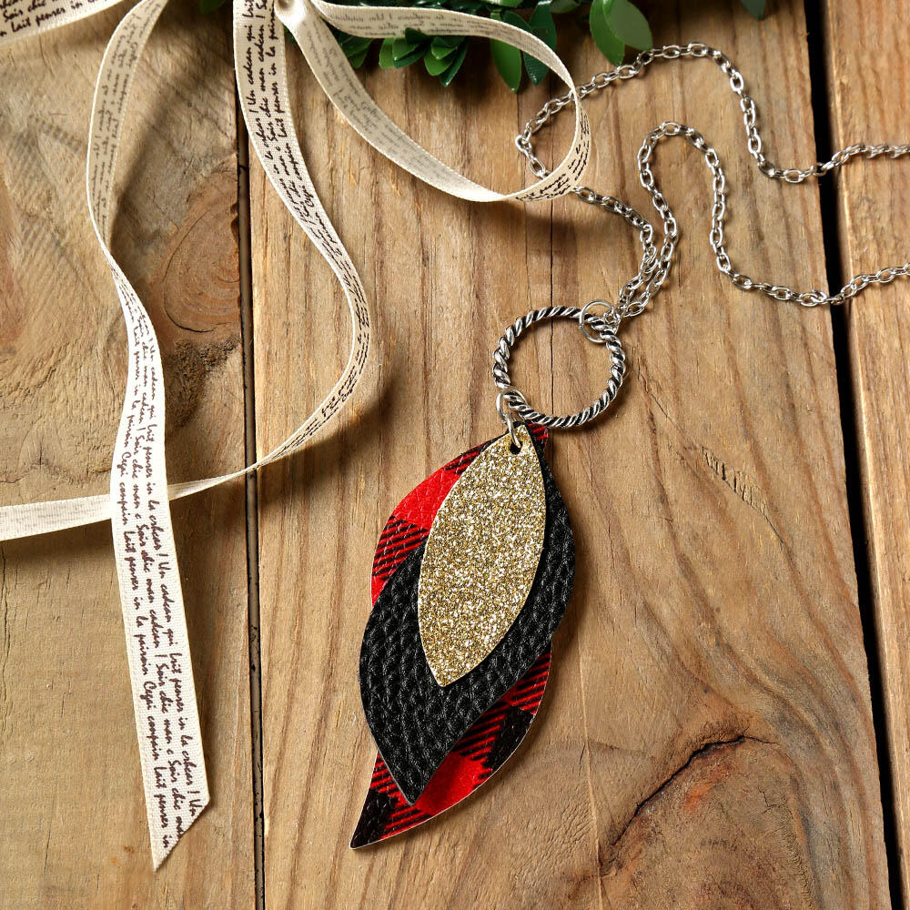 Plaid Sequined Leaf Multi-Layered Necklace