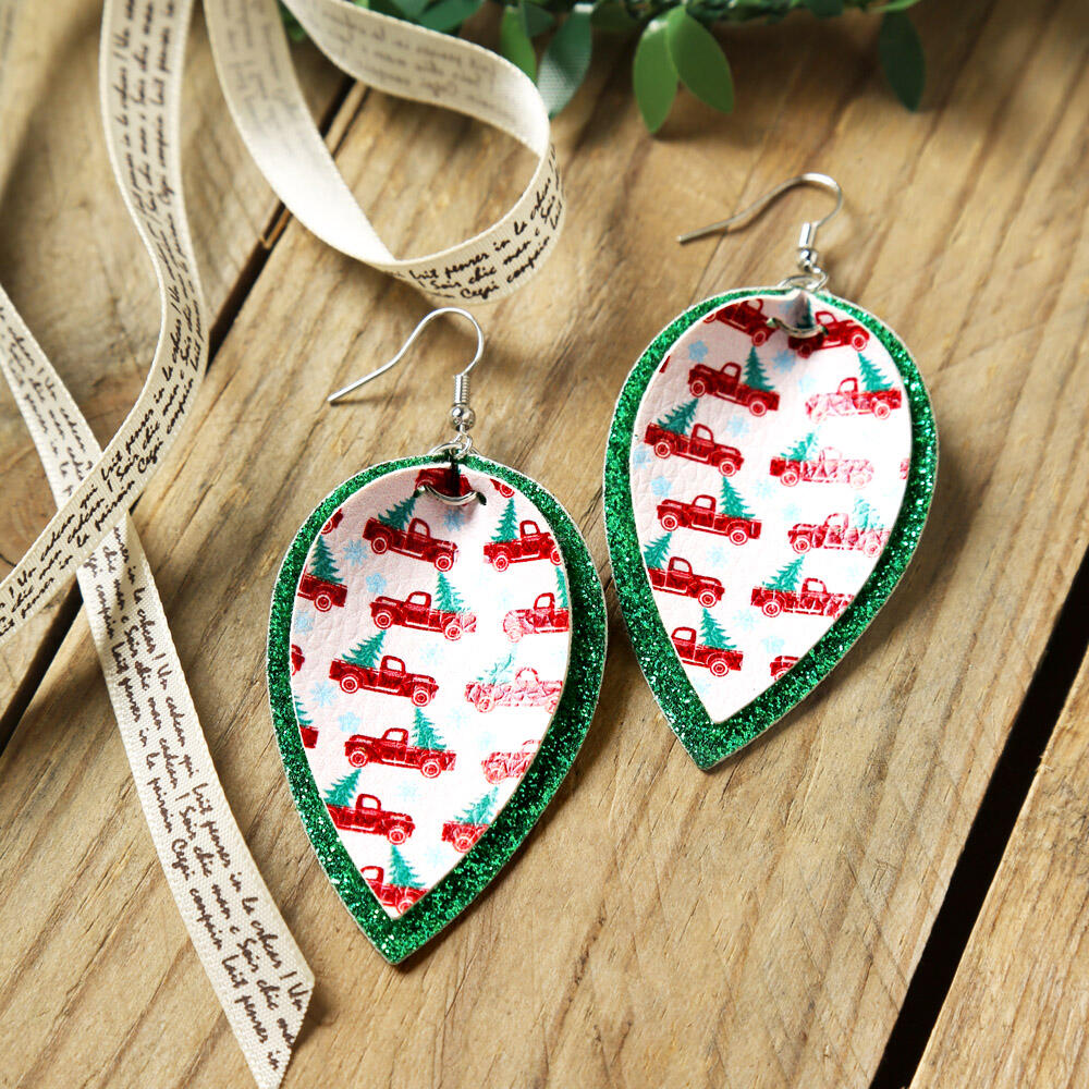 Leaf Truck Sequined Layered Leather Earrings