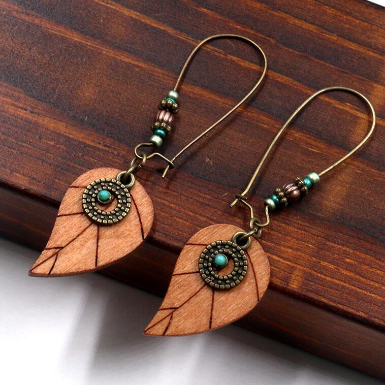 Vintage Wooden Leaf Beading Earrings