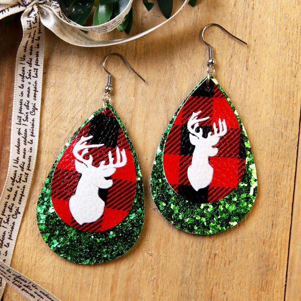 Christmas Elk Sequined Pendant Earrings