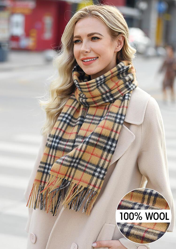 Feelily Plaid Tassel Soft Classic 100% Wool Scarf
