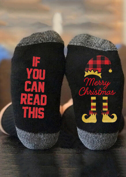 If You Can Read This Merry Christmas Elf Socks