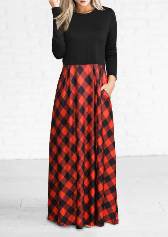 Plaid Pocket Long Sleeve Maxi Dress - Red