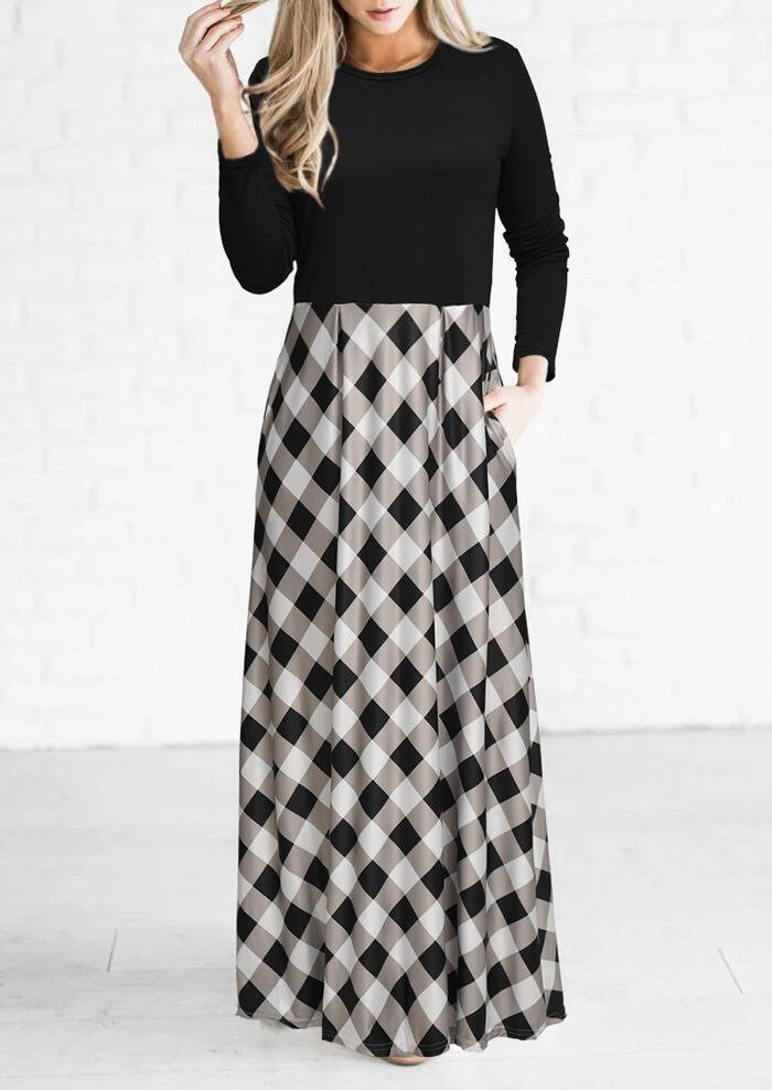Plaid Pocket Long Sleeve Maxi Dress - Black