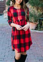 Buffalo Plaid High Low Babydoll Dress - Red