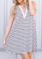 Striped Criss-Cross Sleeveless Mini Dress