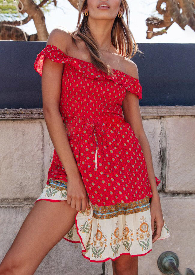 Floral Tie Off Shoulder Mini Dress without Necklace - Brick Red