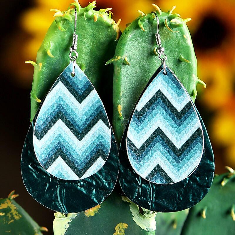 Wavy Dual-Layered PU Leather Earrings