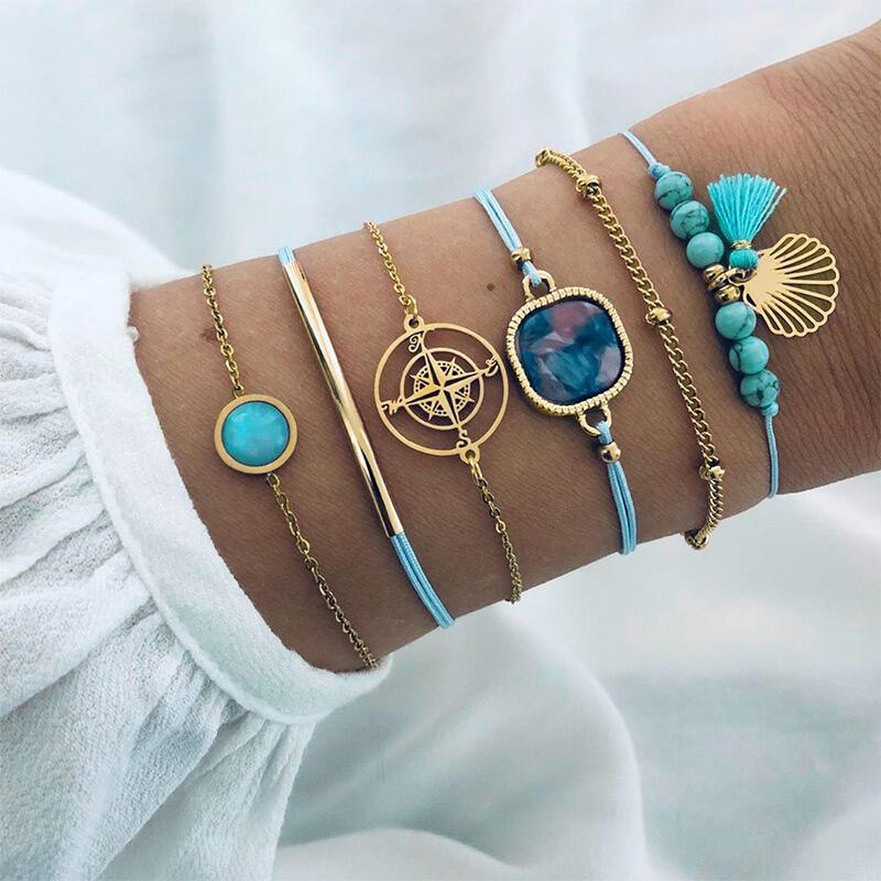 6Pcs Compass Tassel Beading Bracelets
