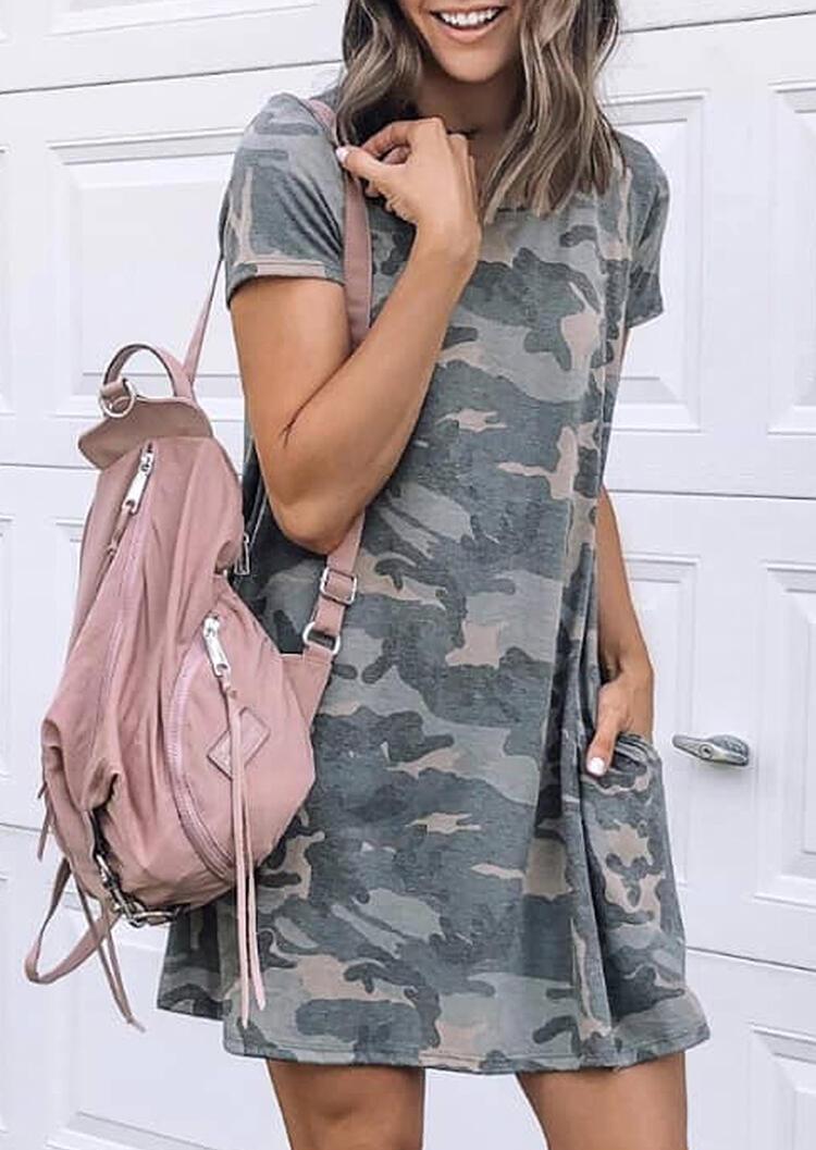 Camouflage Printed Pocket O-Neck Mini Dress
